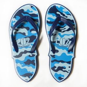 LUZ Mens Blue Camo Thong Flip Flop Surf Sandal 11